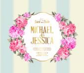 Fényképek Esküvői meghívó, színes virágok. Vektoros illusztráció