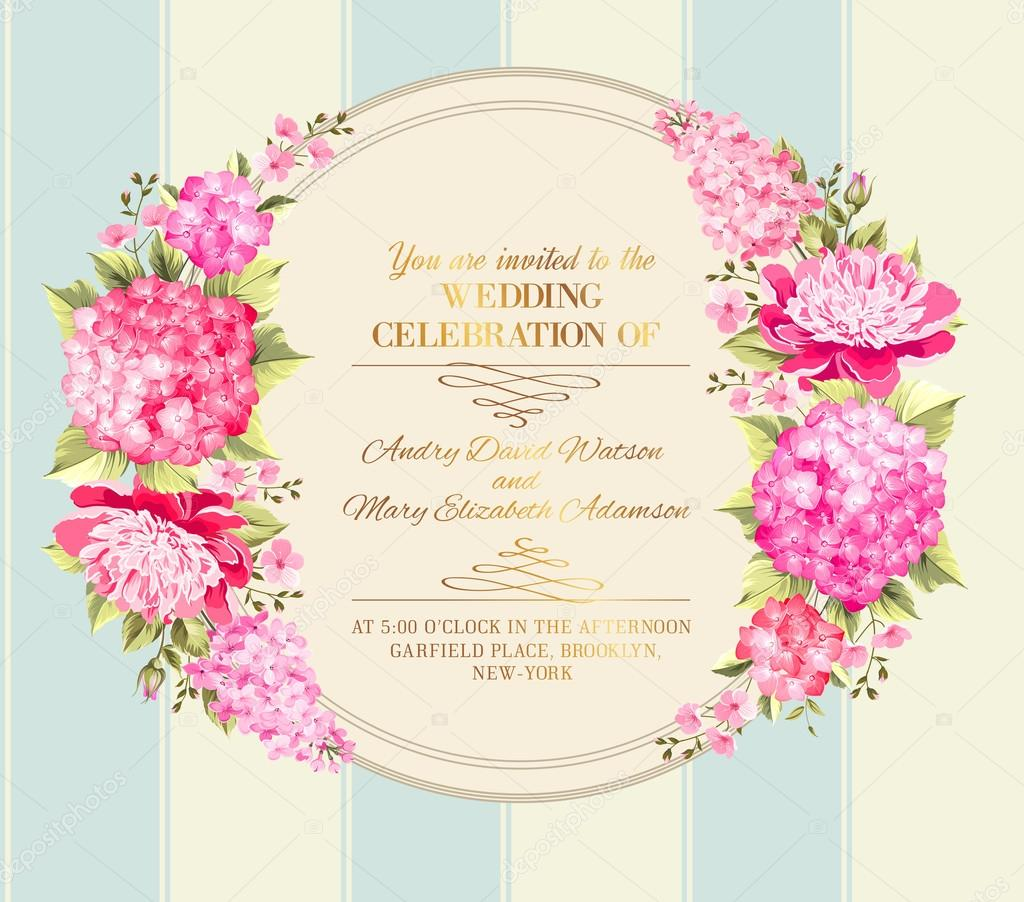 Wedding invitation card of color flowers vector illustration wedding invitation card of color flowers vector illustration stock vector stopboris Image collections