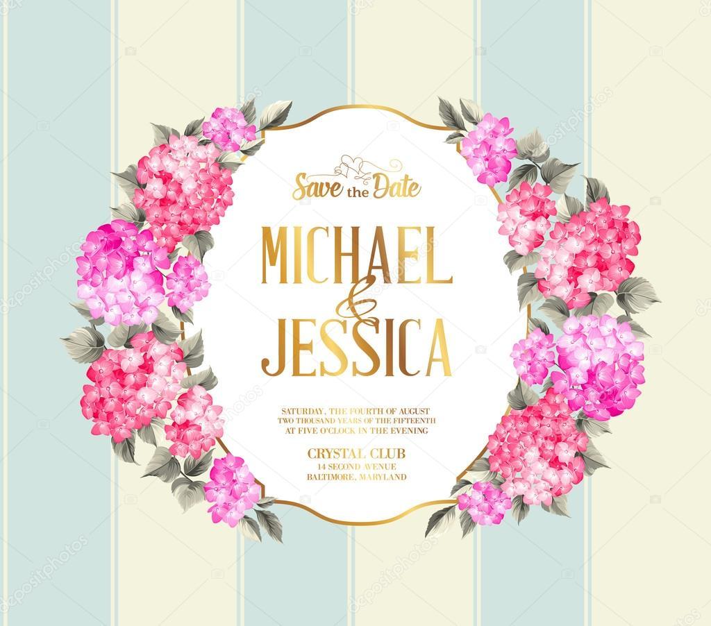 Hochzeit Einladungskarte Farbe Blumen Vektor Illustration
