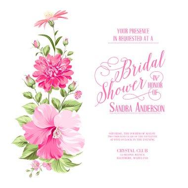 Flower garland for invitation card.
