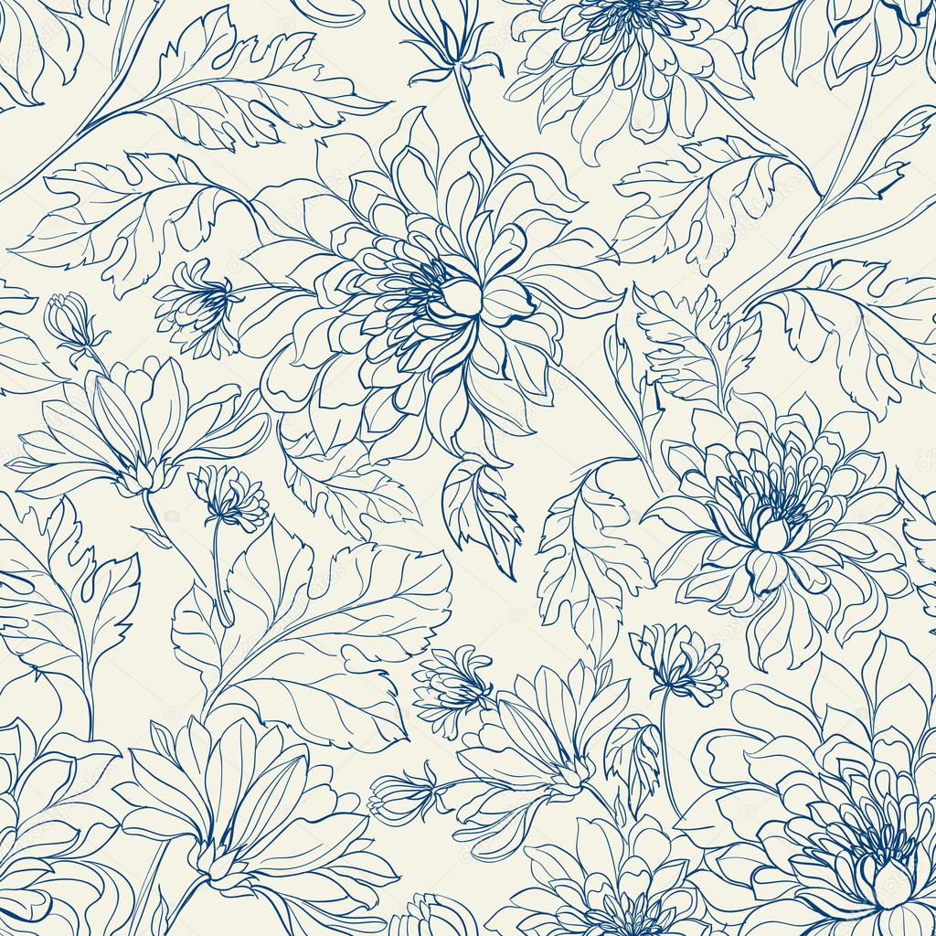 Seamless floral pattern with chrysanthemums.