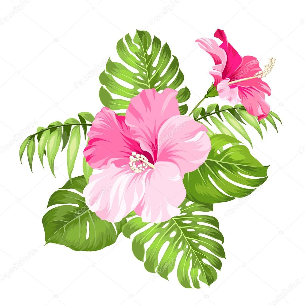 tropical flower garland stock vector kotkoa 89417658