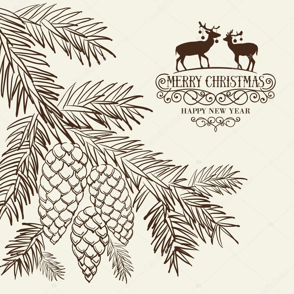 christmas fir and pinecone stock vector kotkoa 91549768  christmas fir and pinecone stock vector