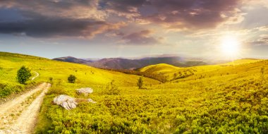 Road on hillside meadow in mountain panorama at sunset