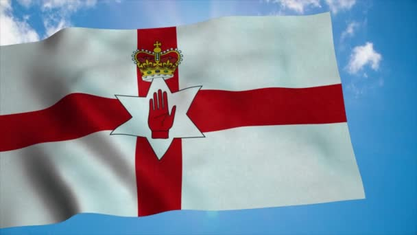 Northern Ireland national flag waving in the wind, blue sky background. 4K