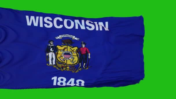 Flag of Wisconsin on Green Screen. Perfect for your own background using green screen. 3d rendering