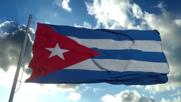 Kubánská vlajka vlající ve větru proti temně modré obloze. Národní téma, mezinárodní koncept