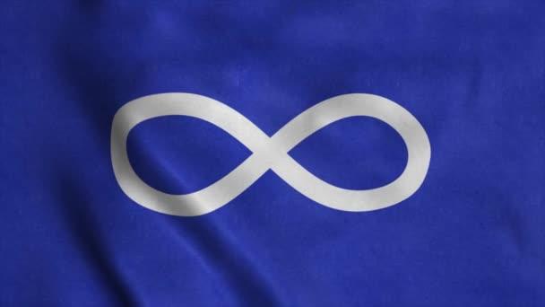 Metis Blue Indian Flag, integet a szélben. Reális lobogó háttér