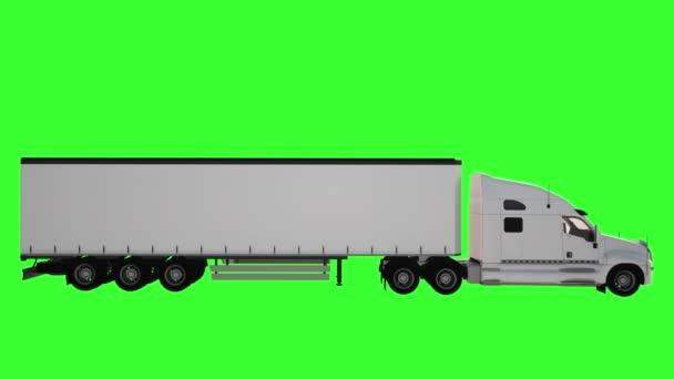 Smyčka animace bílého náklaďáku s přívěsem na zeleném pozadí. Boční pohled
