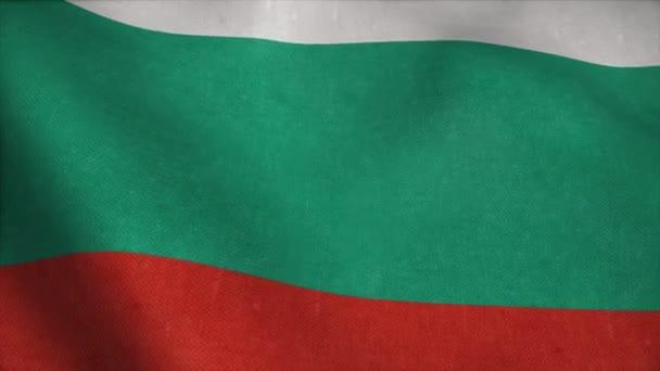 Bulgaria flag waving in the wind. National flag of Bulgaria. Sign of Bulgaria seamless loop animation. 4K