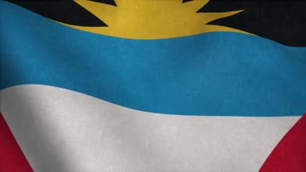 Antigua and Barbuda flag - realistic waving fabric flag
