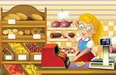 Fotografie Die Shop-Szene mit verschiedenen Gütern und Angestellter