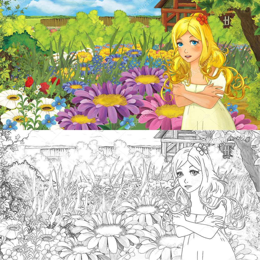 Escena de la granja de dibujos animados con Niña elfo en flores ...