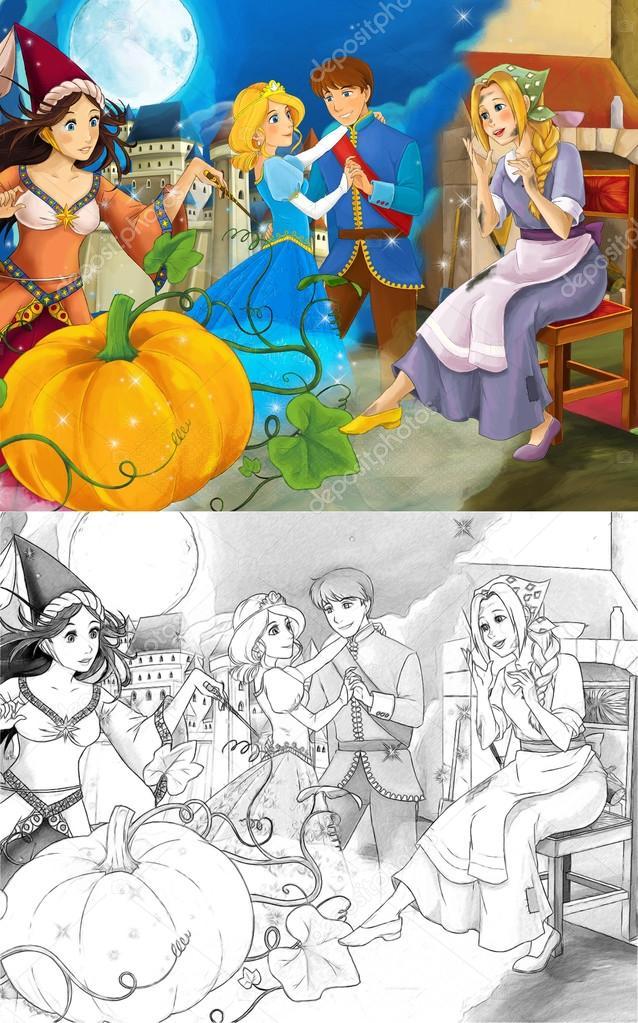 Dessin Anime La Scene Mixte Avec La Pauvre Fille Et La Princesse