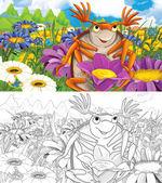Kreslený chyba - louka plná květin - s barevné stránky