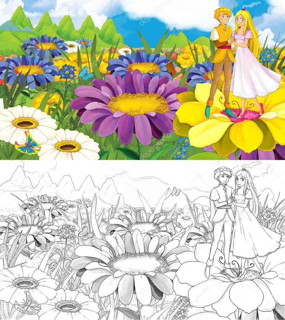 Cartoon scene with prince and princess on flowers