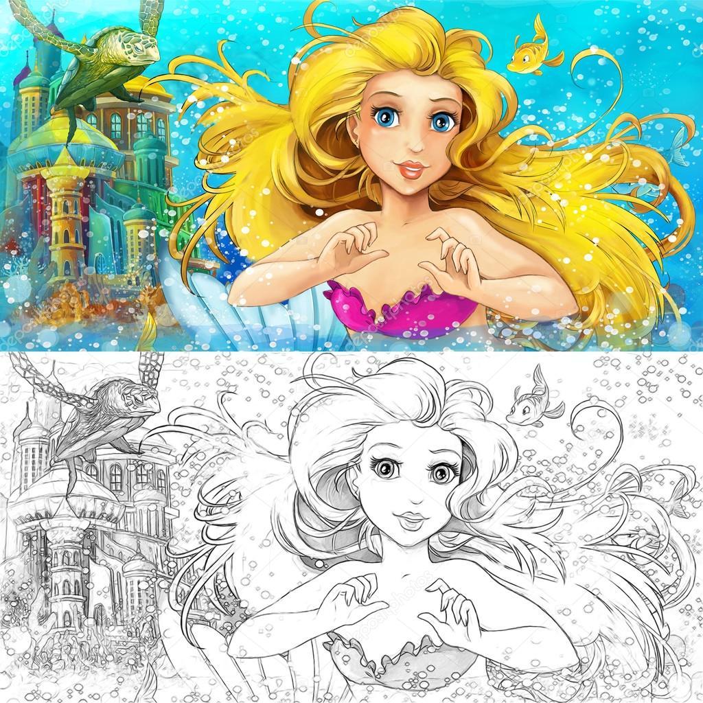 Sirena de dibujos animados en el mar - página para colorear — Fotos ...