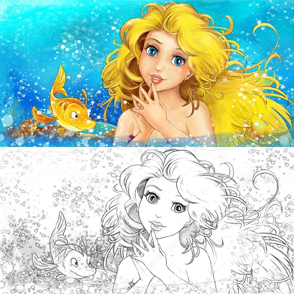 Sirena de dibujos animados en el mar - página para colorear — Foto ...