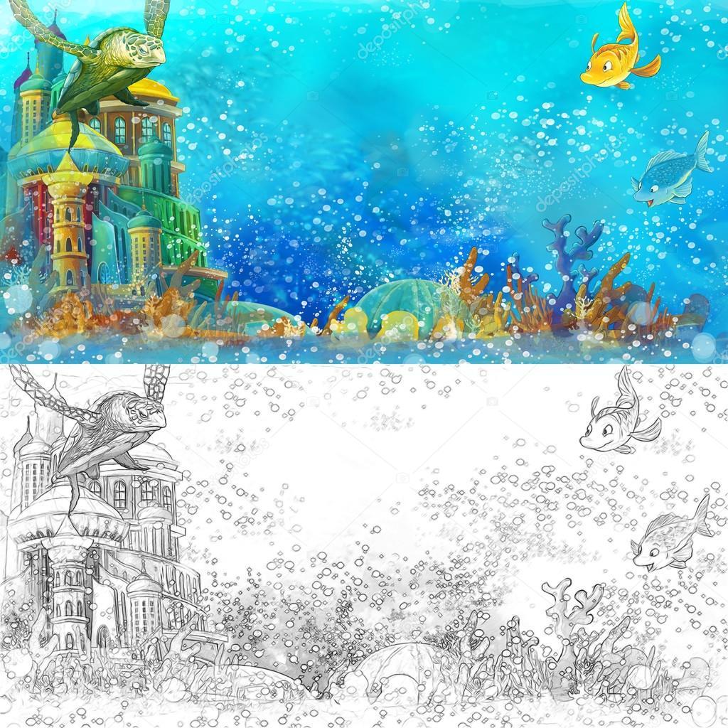Dibujos animados mar - castillo submarino — Foto de stock ...