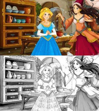 Cartoon scene with poor girl and princess sorceress