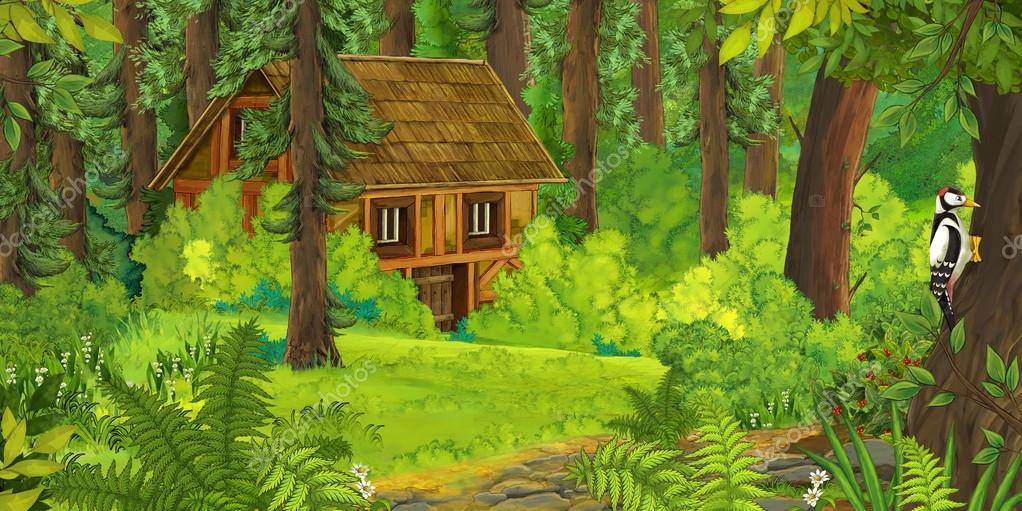 Escena de dibujos animados naturaleza con antigua casa en - Casitas en el bosque ...