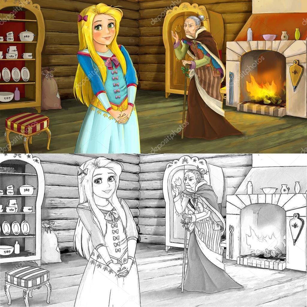 Bir Genç Kız Ve Yaşlı Kadın Ahşap Oda Ek Boyama Sayfası çizgi Film