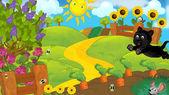 Cartoon scene of a farm