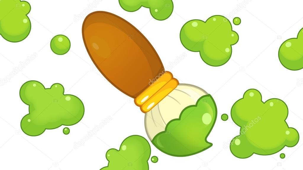 Dibujos Animados De Color Verde: Pincel De Desenho Animado E Espirra Com Cor Verde