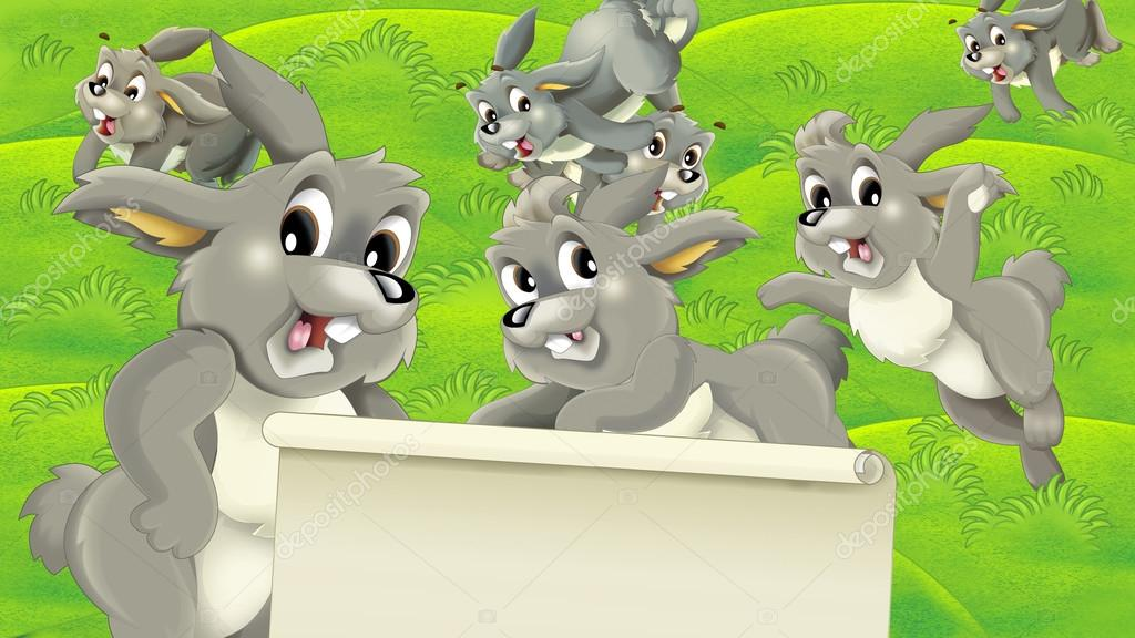 Cartoon rabbits on the pastures