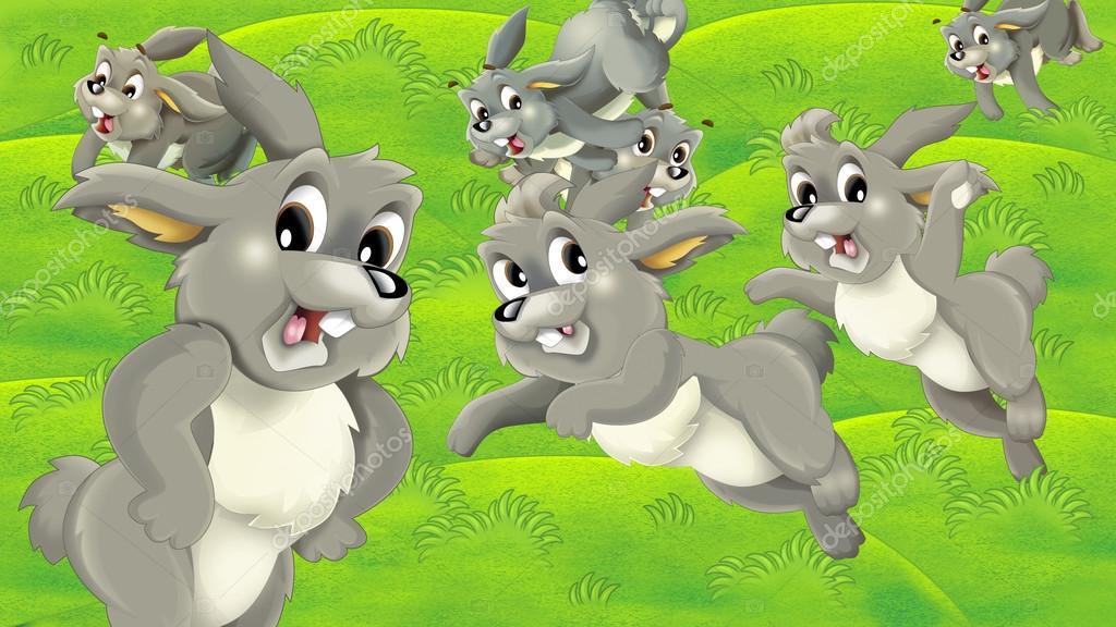 Cartoon rabbits on the pasture