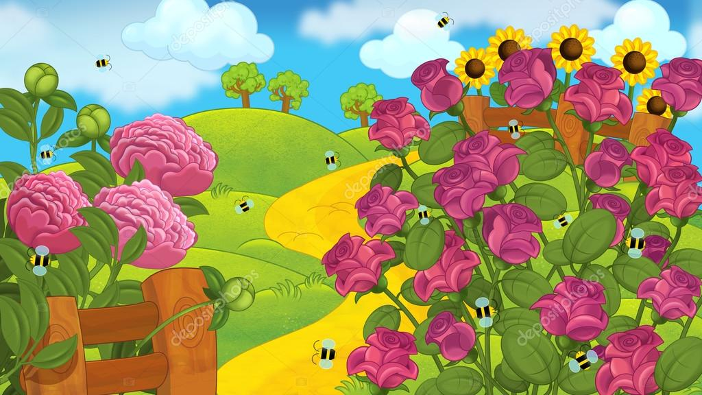 Cartoon garden scene with roses — Stock Photo © illustrator_hft ...