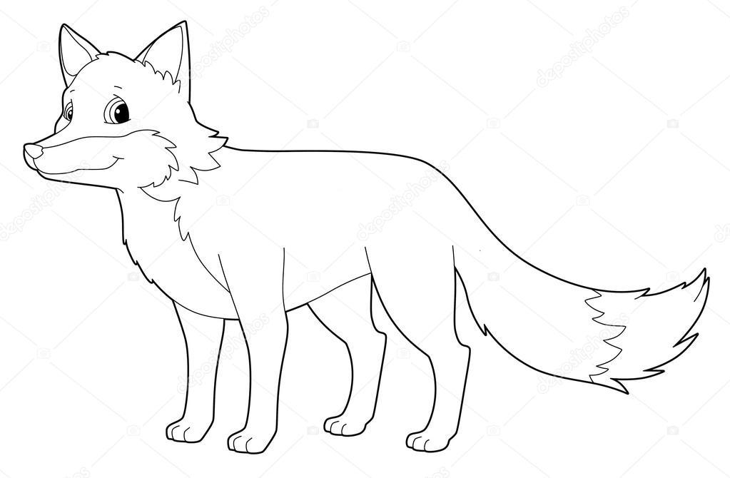Dibujos animados de animales - fox - aislado - página para colorear ...