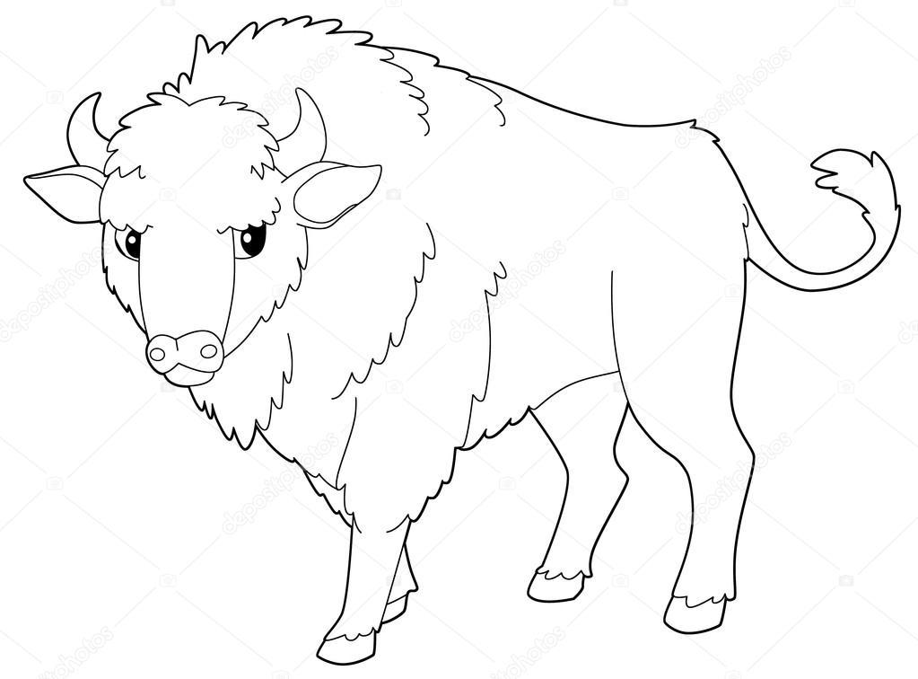 Dibujos: bisontes a lapiz | Aislaron de dibujos animados de animales ...