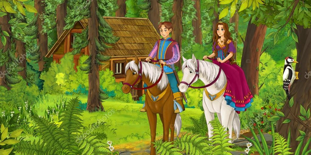 Cartoon girl and boy riding on a white horse - princess or queen - illustration for the children