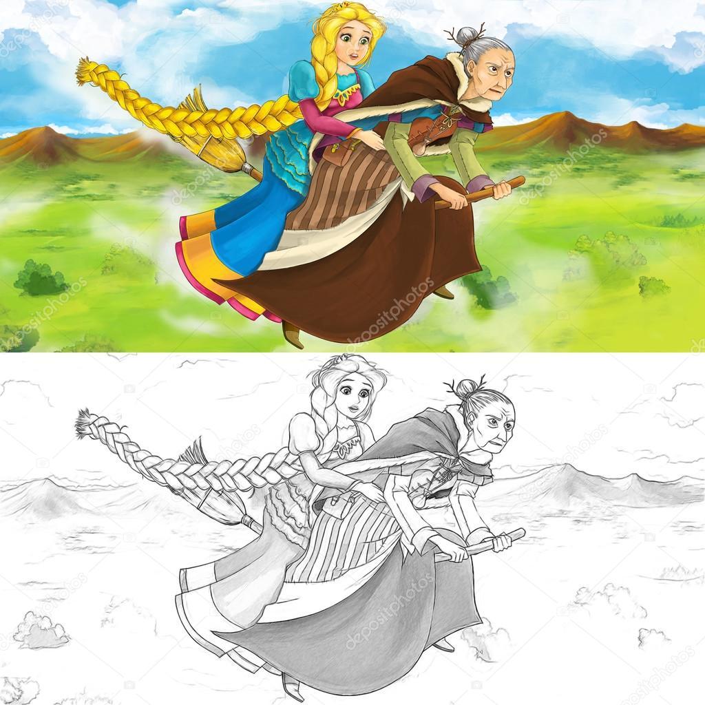 Escena de una bruja volando con una niña en una escoba - con página ...