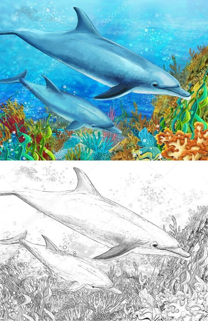 Arrecife de coral de dibujos animados con delfines — Fotos de Stock ...