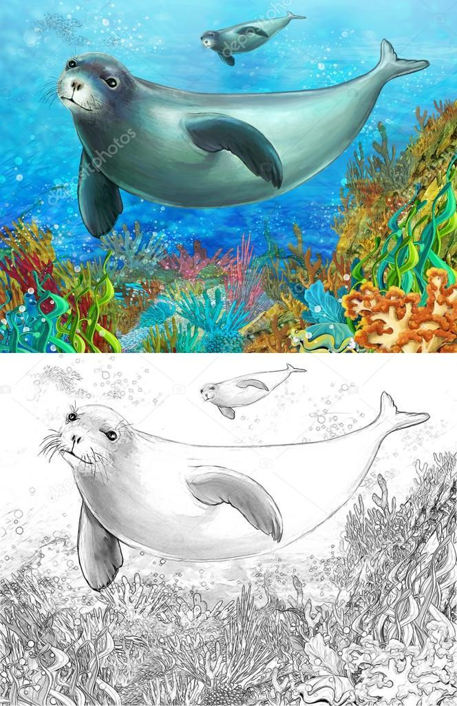 Escena de dibujos animados de un arrecife de coral con sello de la ...