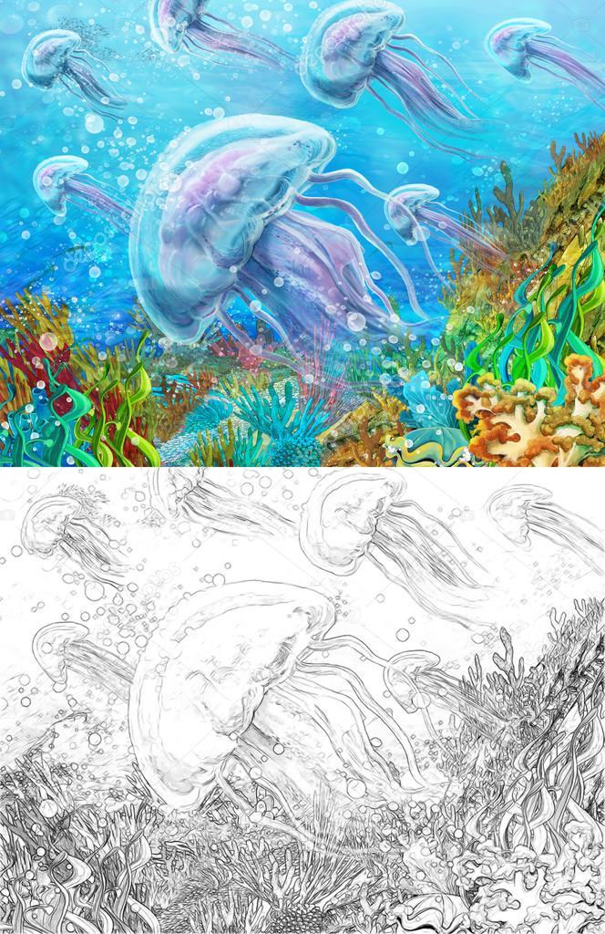 Escena de dibujos animados de un arrecife de coral con medusas - con ...