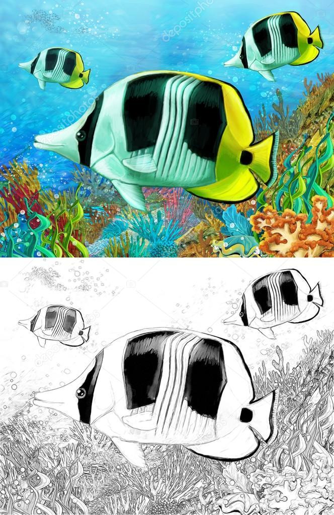 El arrecife coralino - pequeños peces coral coloridos - con página ...