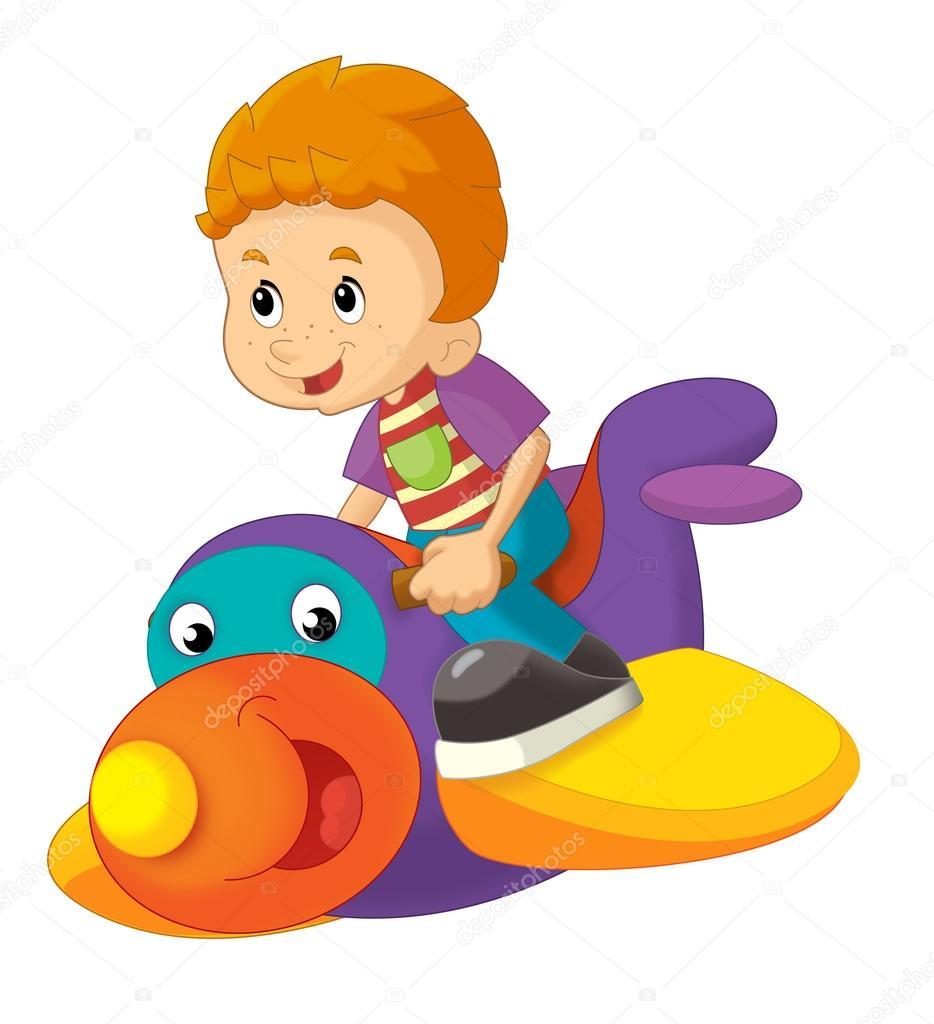 Dibujos animados de niño en un avión juguete aislado