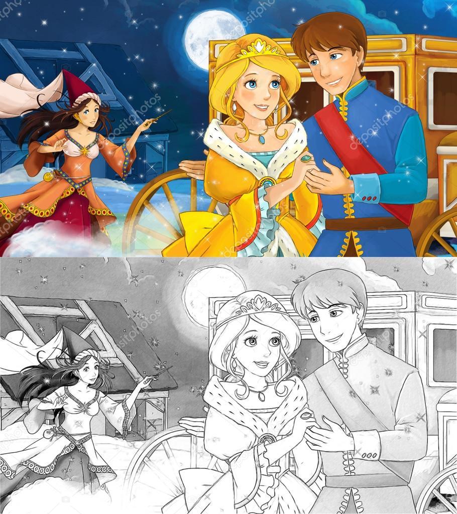 Escena de dibujos animados de una amorosa pareja real — Foto de ...