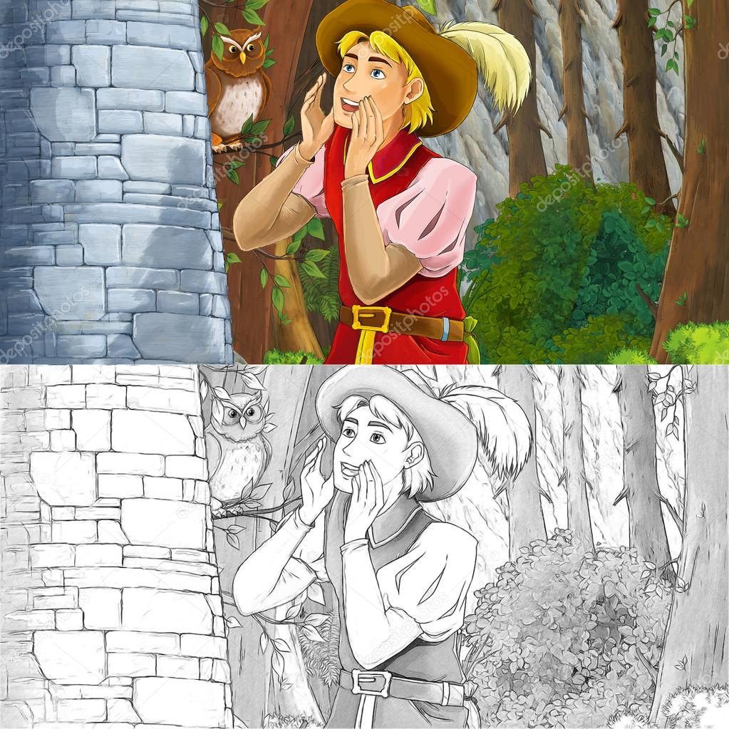 Cartoon scene of a nobleman shouting standing near rocky wall
