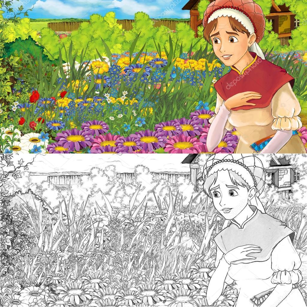 Escena de la granja de dibujos animados de una mujer en el jardín ...