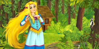 Cartoon nature scene with old house in the forest and pretty girl in the first stage