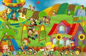 Kreslené scény děti hrají v lunapark - skládačka