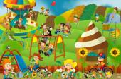 Cartoon scene of kids playing in the funfair - matching game