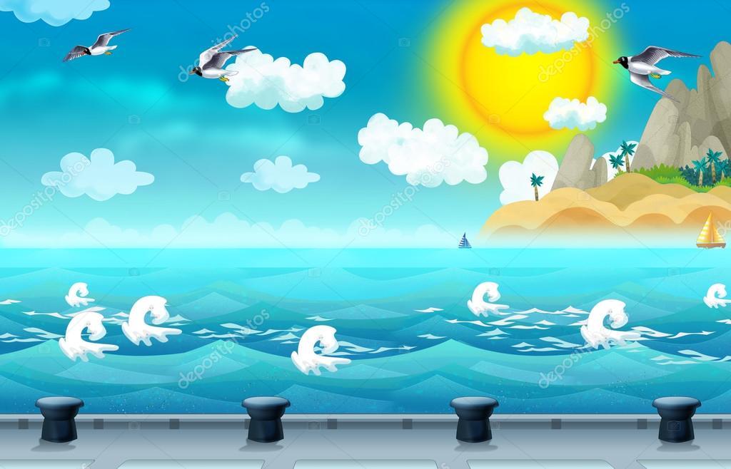Kreslene Pozadi More A Dokovaci Stanice Pro Lode Stock Fotografie