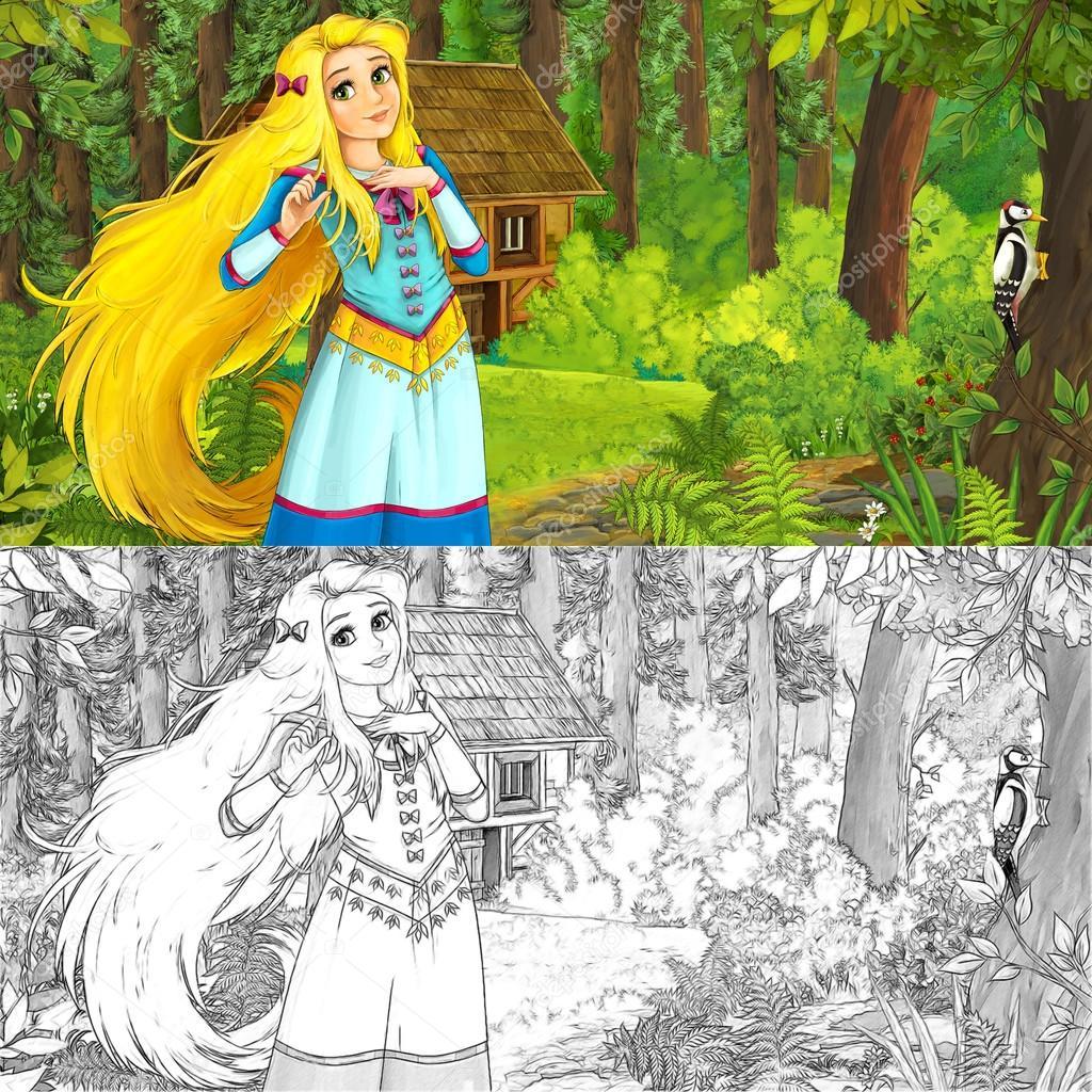 Scene De Nature Dessin Anime Avec Fille Manga Belle Photographie