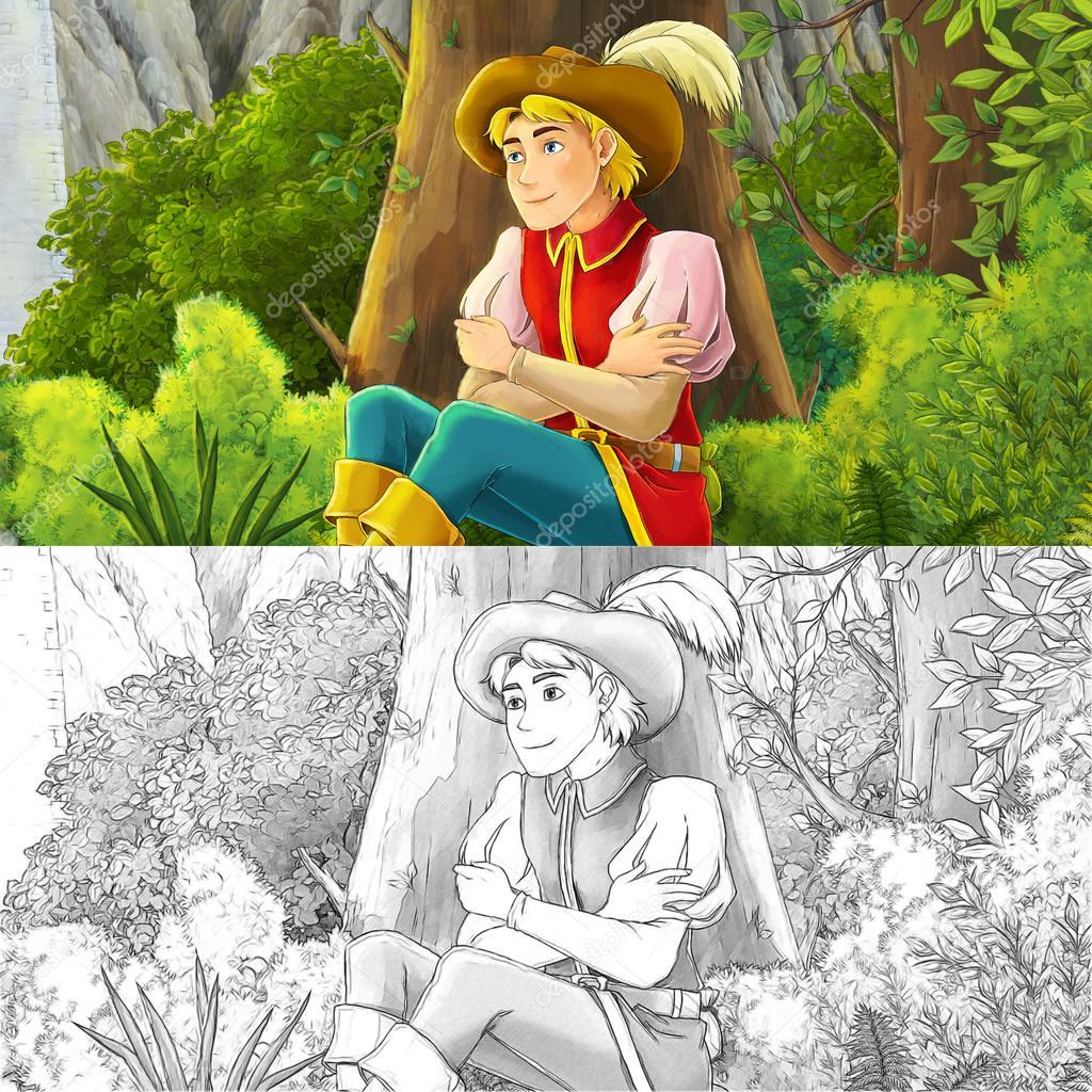 Escena de dibujos animados de un noble - manga hombre — Foto de ...