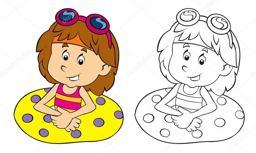Cartoon Kind Plezier Zwemmen Met Kleurplaat Pagina Stockfoto